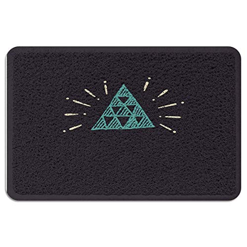 YGUII Indoor/Outdoor Doormat,Cartoon Durable Heavy Duty Shoes Scraper Mat, Hand-Painted Triangle Monochromic Illustration Easy Clean Rug for Pet Bowl16X23.6in - Hand Triangle Painted