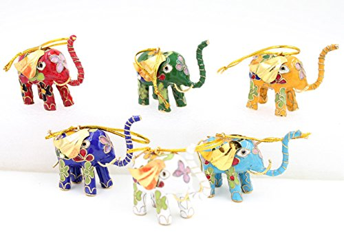 ARTIST Collectibles 6pcs Chinese Handmade Classic Cloisonne Animal Decoration Elephant Enamel Ornaments