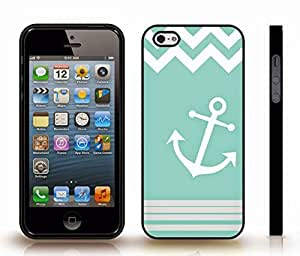 iStar Cases? iPhone 5/5S Case with Chevron Pattern White Mint Stripe White Anchor , Snap-on Cover, Hard Carrying Case (Black)