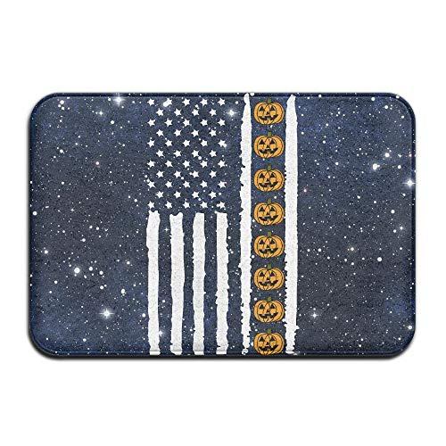 Youbah-01 Indoor/Outdoor Carpets Floor Door Mat with Pumpkin Halloween USA Flag-1 Pattern for Front Porch -