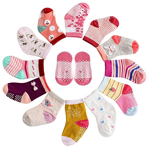 - 12 Pairs Assorted Toddlers Non-Skid Ankle Cotton Crew Baby Socks with Grip for Kids, Baby Girl Socks 12-36 Months