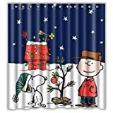 Hot Sale Shop Custom Peanuts Christmas Snoopy Waterproof Bathroom Shower Curtain Polyester Fabric 60 X 72
