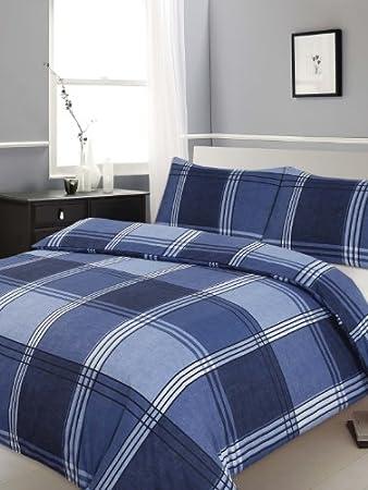 Double Bed Duvet / Quilt Cover Bedding Set Hamilton Check Blue ... : double bed quilt cover - Adamdwight.com