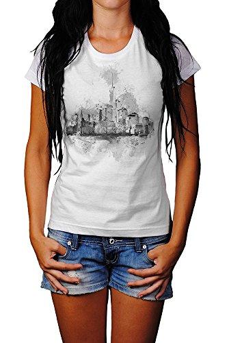Skyline T-Shirt Mädchen Frauen, weiß mit Aufdruck