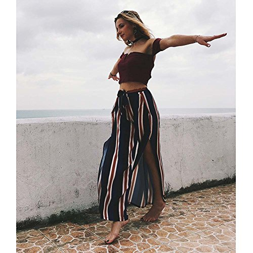 Womens Stripe High Waisted Wide Lounge Wide Leg Culottes Split Palazzo Skirt Pants M,Navy by Oops Style (Image #3)