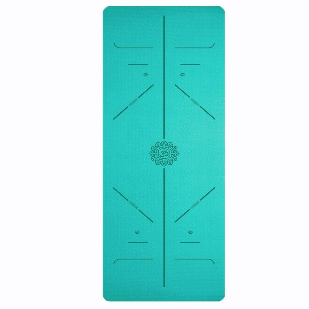 体重を減らす TPEボディラインヨガマット非スリップ高密度フィットネスクッションすべてのタイプのヨガ付きキャリングストラップ3色 (サイズ さいず : 青-6mm, サイズ さいず : 183*80cm)   B07Q8J6JC9