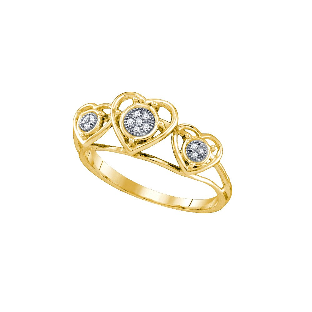 10kt Yellow Gold Womens Round Diamond Heart Love Ring .03 Cttw (I2-I3 clarity; J-K color)