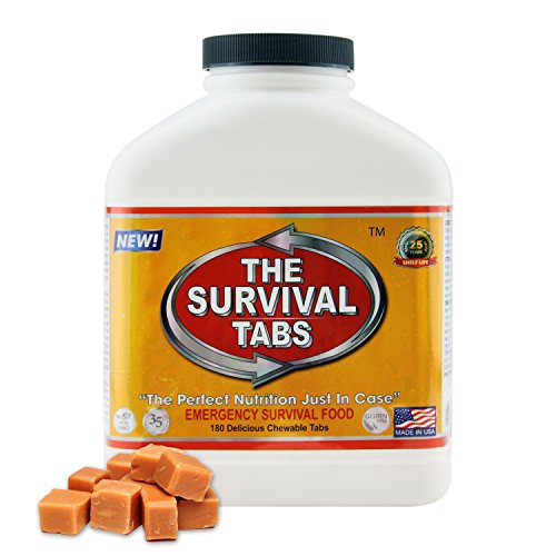 Survival Food for Kayaking Survival Tabs 15-day Food Supply 180 Tabs Emergency Food Ration MREs Food Replacement Gluten Free and Non-GMO 25 Years Shelf Life Long Term Food Storage - Butterscotch (Best Foods For Fasting Days)