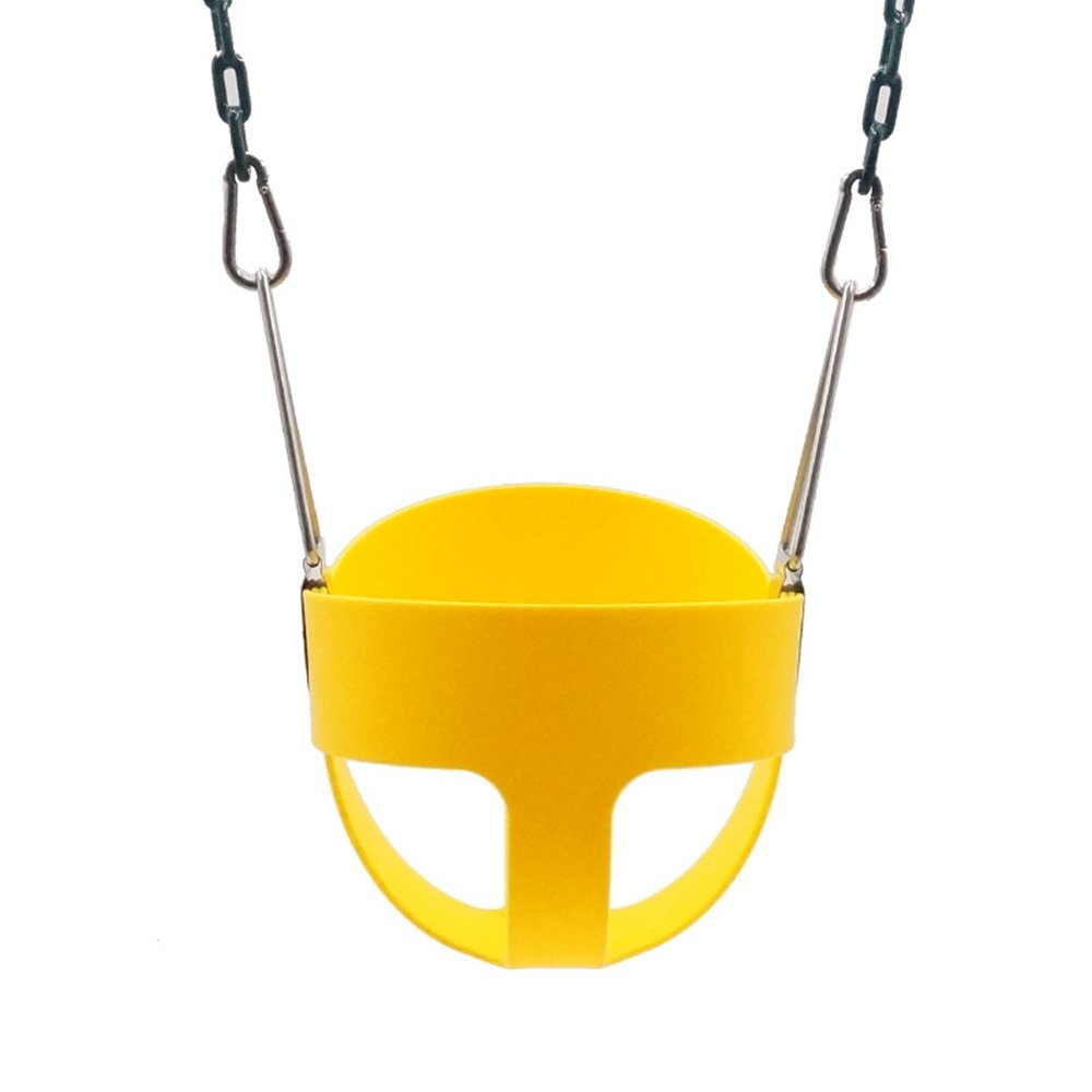 Techcell Infant Hammock Chairs High Back Full Bucket Toddler Swing Seat with Plastic Heavy Duty Coated Chains - Swing Set Accessories-Locking Snap Hooks (Yellow)