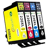 Buyalot 4 Pack High Capacity Replacement for Epson 220 220XL Ink Cartridges Compatible with Epson XP-420 XP-424 XP-320 WF-2630 WF-2760 WF-2750 WF-2650 WF-2660