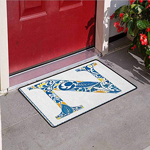 - GloriaJohnson Letter N Universal Door mat Floral Design in Vintage Alphabet Font Design N in Azulejo Inspired Frame Door mat Floor Decoration W15.7 x L23.6 Inch Blue Yellow Orange