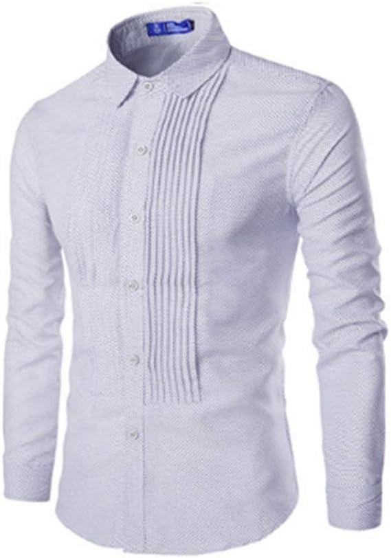 New Spot Print Camisa de Manga Larga Arrugada Camisa de Solapa en Color Blanco 2XL: Amazon.es: Ropa y accesorios