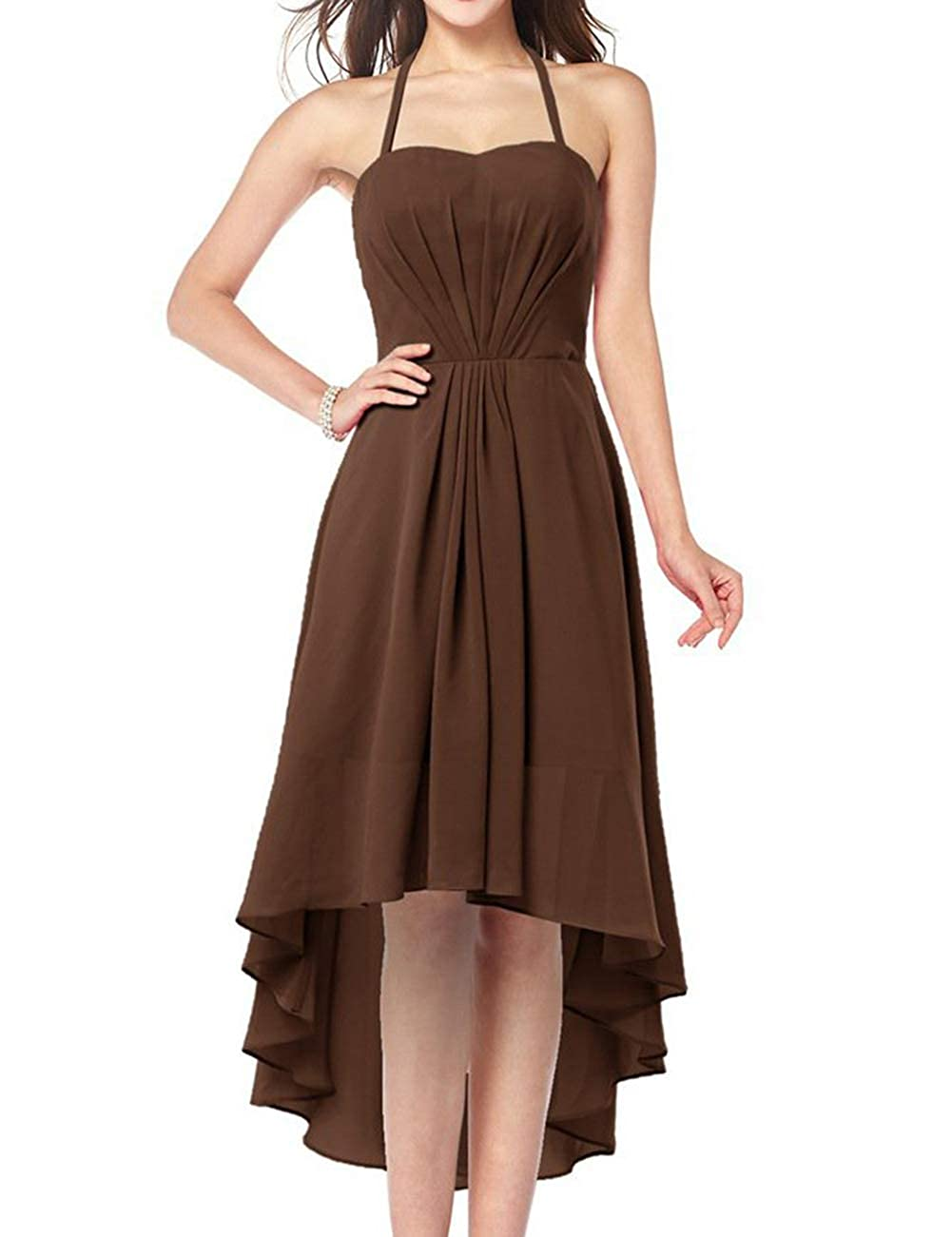 Chocolate Uther Plus Size Bridesmaid Dresses Long Aline Halter Hi Lo Evening Prom Party Gown