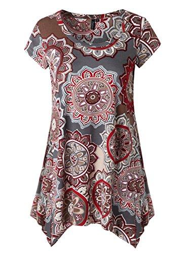 Zattcas Womens Short Sleeve Flare Tunic Tops Loose Fit Print Summer Tunic Shirt (XX-Large, Multi (X 30 Light Gray Top)