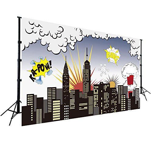 Super City Backdrop for Baby Kids Birthday Party Photography Pictures Wall Decor Vinyl Background Event Decorations W-511 ()