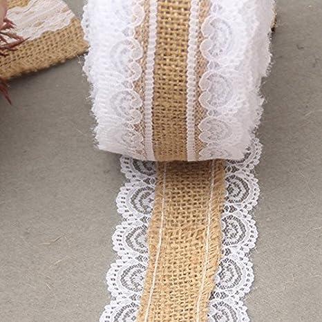 Westeng 1 Roll Ribbon Wrap White Lace Wide Jute Burlap for Wedding Home Decoration//Christmas DIY Crafts 2m x 5cm