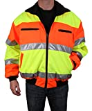 Safety Depot Cold Climate Safety Jacket ANSI Approved Class 3, Reversible, Water Resistant with Pockets (Large)