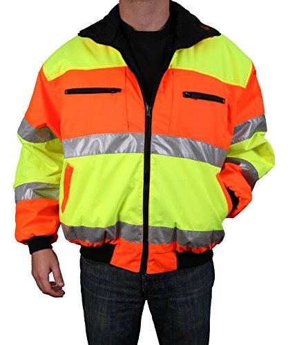 Safety Depot Cold Climate Safety Jacket ANSI Approved Class 3, Reversible, Water Resistant with Pockets (Large) ()