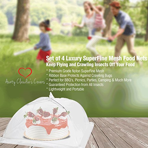 Luxury Food Nets | Pack of 4 | Easy Pop Up and Collapsible Umbrella | White Mesh Bug Net | Cake Cover | Reusable Outdoor BBQ Food Tent | 2 Sizes | Mosquito and Insect Screen | Keep Bugs Out by Aunty Claudia's Covers (Image #5)