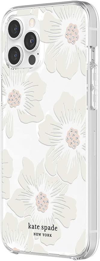 kate spade new york Protective Hardshell Case for iPhone 12 Pro Max - Hollyhock Floral Clear/Cream with Stones