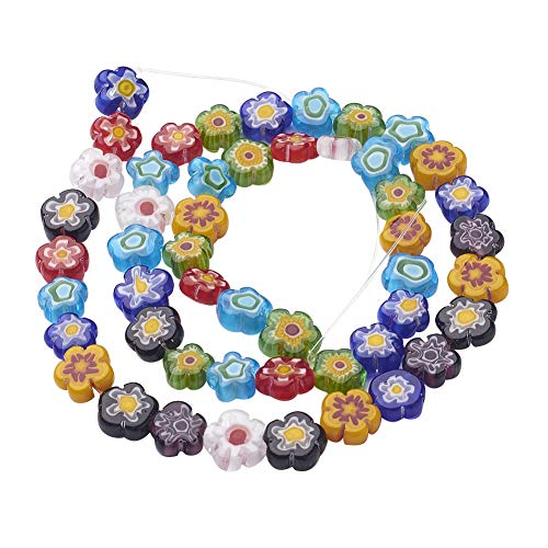 Millefiori 8mm Glass - PH PandaHall 5 Strands 8mm Millefiori Lampwork Glass Beads Flower Spacer Bead for Jewelry Making 16