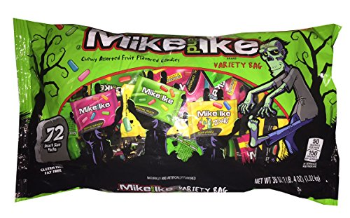 Mike and Ike Variety Bag with 72 Snack Size Packs - Gluten & Fat Free - Halloween -