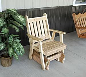Outdoor Lawn Traditional English Glider Chair - STAINED- Amish Made USA -Cedar