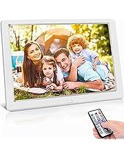 Digitale fotolijst 10 inch hoge resolutie (1024 x 600) video/foto/muziekspeler, digitale klok, kalender, wekker, elektronische fotolijst met afstandsbediening, ondersteunt USB- en SD-kaart, wit