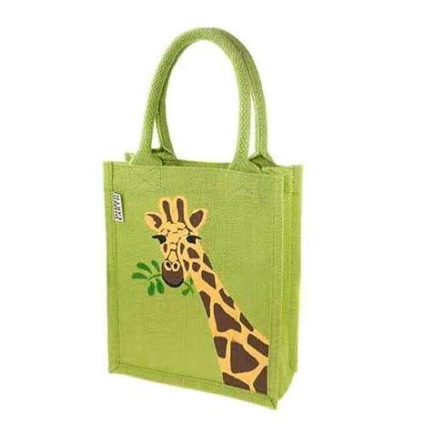 Mini bolsa de yute con asas acolchadas, jirafa, 20x24x8.5 cm ...