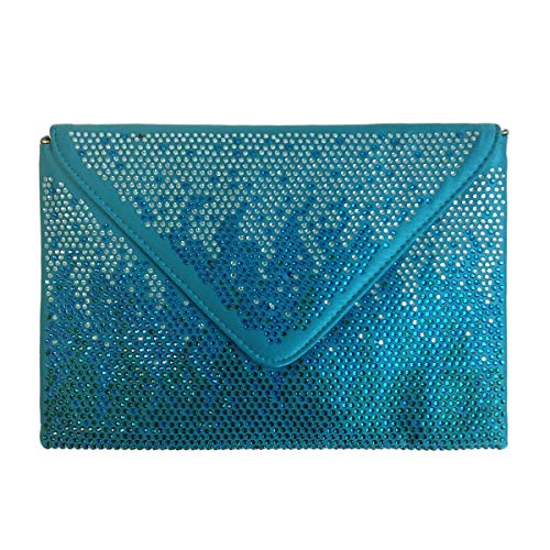 - JNB Stone Accent Envelope Clutch, Turquoise