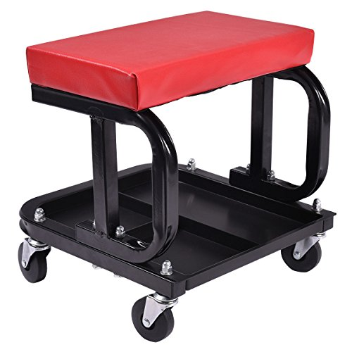 Goplus Adjustable Rolling Seat Creeper Pneumatic Padded Chair with Tray for Repair Shop Garage (Rectangular Shape)