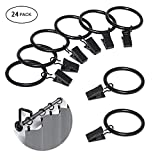 """Kyson 24 Pack Curtain Rings with Removable Clips,Rustproof Drapery Ring Black(1.5"""" Interior Diameter)"""