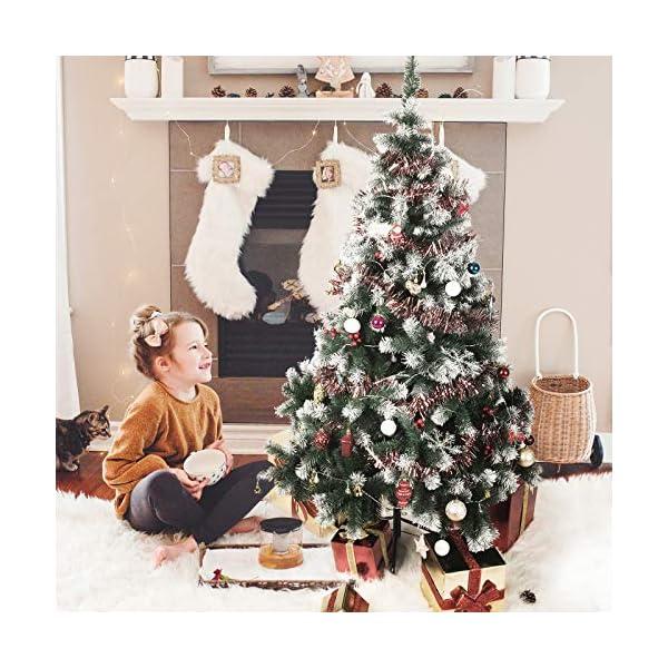 TopVita Albero di Natale Bianco Verde, Albero di Natale Artificiale in PVC Ignifugodi in Diverse Misure (Verde e Bianco, 2,4 Metri) 6 spesavip
