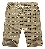 Men's Casual Shorts Classic Fit Linen Summer Beach Short for Men (1 Khaki, 31''- 33'')