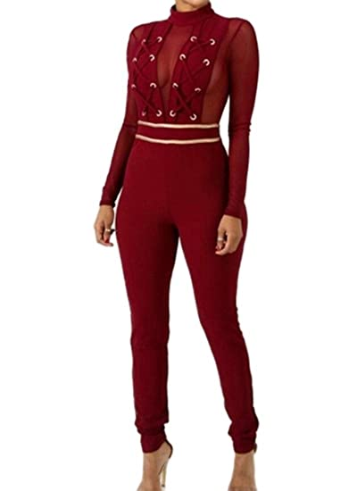 9e1a6814e788 chenshijiu Womens Sexy Lace Jumpsuit See Through Sheer Mesh Long Sleeve  Romper Clubwear Wine Red XL