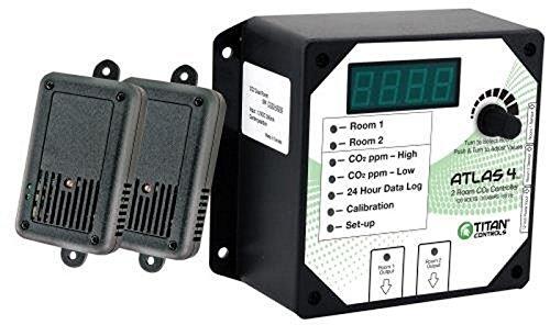 Titan Controls 2-Room Carbon Dioxide (CO2) Monitor & Controller, 120V - Atlas 4