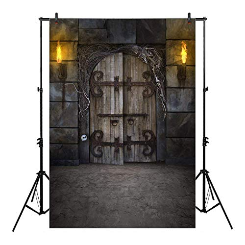 Allenjoy 5x7ft Spooky Dungeon Door Backdrop Flaming Torches Twigs Skeleton Bones for Halloween Portrait Photography Party Decor Celebration Home Decoration Pictures Backdrops Background Photo Booth -