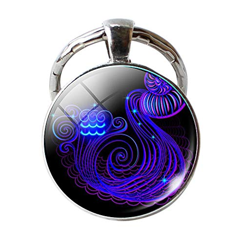 Keychain 12 Constellation Zodiac Sign Pendant Double Face Keyring Key Holder,Outsta 2019 Fashion Jewelry Hot Sale!Under 5 Dollars Gifts for Her