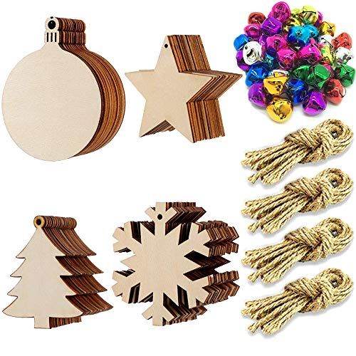 CKANDAY 40 Pack Unfinished Christmas Wooden Ornaments,with 40 Pcs Colorful Jingle Bells & Hanging Rope, Christmas Tree Star Snowflake Round Flat Wooden Bauble Blank Slices Kits for DIY Craft Making