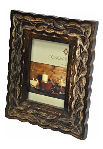 Concepts Carved Pattern Picture Frame Burnt Wood Tree Stump