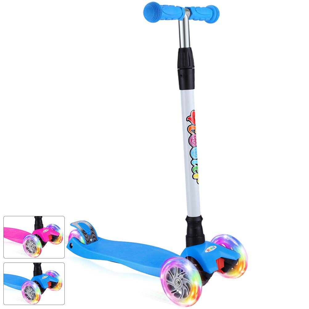 BELEEV Kick Scooter for Kids 3 Wheel Scooter for Toddlers Girls & Boys, 4 Adjustable Height, Lean to Steer with PU LED Light Up Wheels for Children from 3 to 14 Years Old (Blue)
