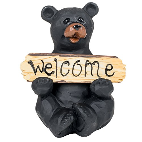 - Black Bear with Welcome and Go Away Sign Decorative Tabletop Figurine