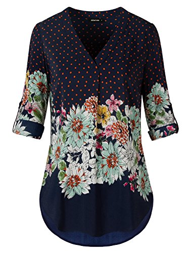 Altelime V Neck Blouses for Women, Ladies 3/4 Cuffed Sleeve Top V Neck Woven Baggy hi Low Loose Fit Floral Print Chiffon Tunic Tops(M,Royal Blue)