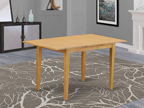 """Norfolk rectangular table with 12"""" Butterfly Leaf  -Oak Finish."""