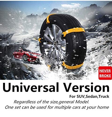 Snow Chains for SUV Car Anti Slip Adjustable Universal Emergency Thickening Anti Skid Tire Chain,Winter Driving Security Chains,Traction Mud Chains for Tire Width 7.2-11.6,10 Pcs