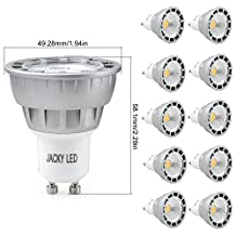 10x LED GU10 5W = 50W Dimmable Warm White 3000K Bulbs Spot Light Lamp, 38° Beam Angle JACKYLED COB Chips Recessed Track Lighting,450LM,Compatible for Silicon-Controlled Rectifier Dimmers,Input 120V/AC