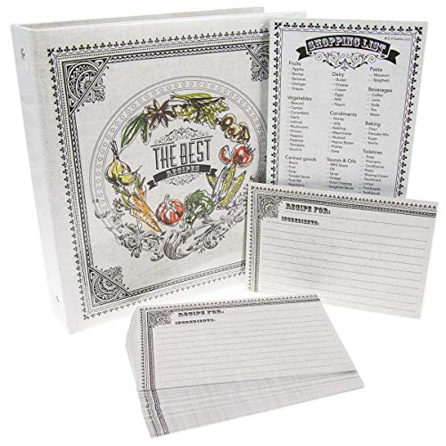 C.R. Gibson Recipe Book with Pocket Pages and Magnetic Shopping List Kitchen Set