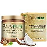 TruePure Argan Oil Hair Mask Conditioner for Dry Damaged Hair - Deep Conditioning Hydrating Hair Repair Treatment with Coconut, Caffeine, Jojoba - Stronger, Thicker & Fuller Hair Growth - 8oz
