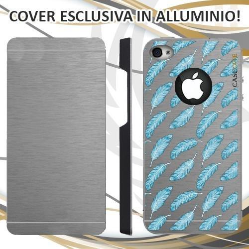 CUSTODIA COVER CASE PIUME BLU PER IPHONE 4 ALLUMINIO TRASPARENTE