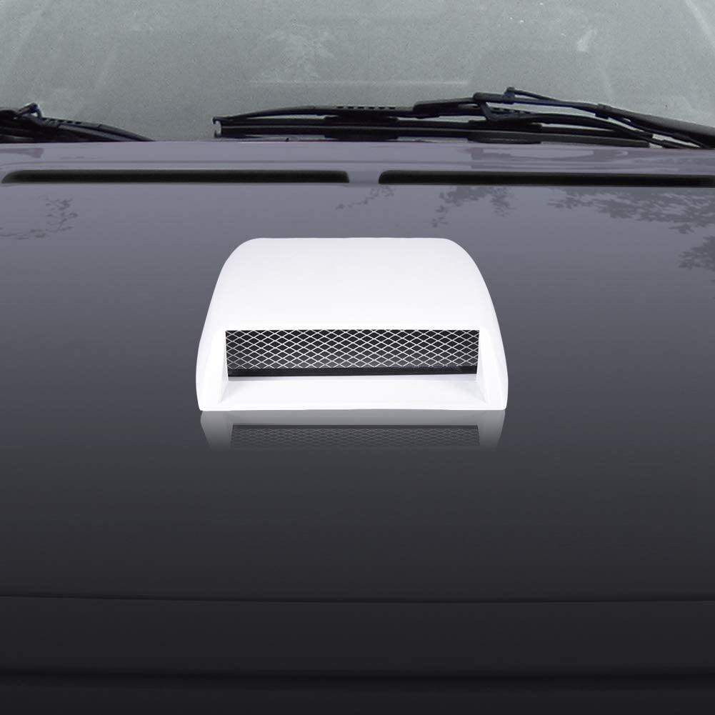 Silver Qiilu Bonnet Vent Cover,Universal Car Decorative Air Flow Intake Scoop Bonnet Vent Sticker Cover ABS Car Hood Vent Scoop Exterior Accessories